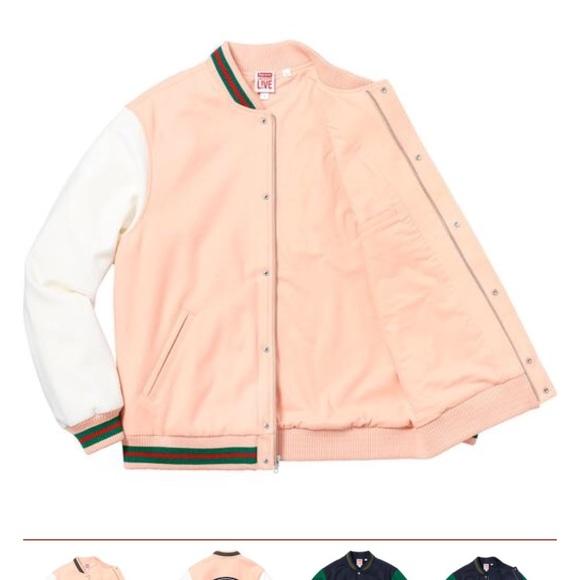 588491bab29b0 Supreme x lacoste wool varsity jacket peach M size